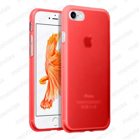 "Funda carcasa para iPhone 7 4.7"" Gel TPU Liso mate Color Rojo"