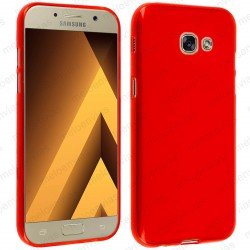 Funda para Samsung Galaxy A3 2017 carcasa Gel TPU Liso mate Color Rojo