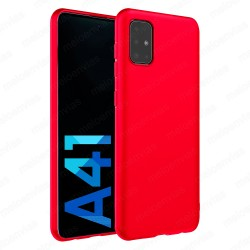 Funda carcasa para Samsung Galaxy A41 Gel TPU Liso mate Color Rojo