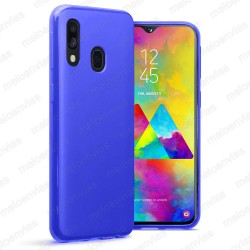 Funda carcasa para Samsung Galaxy M20 Gel TPU Liso mate Color Azul